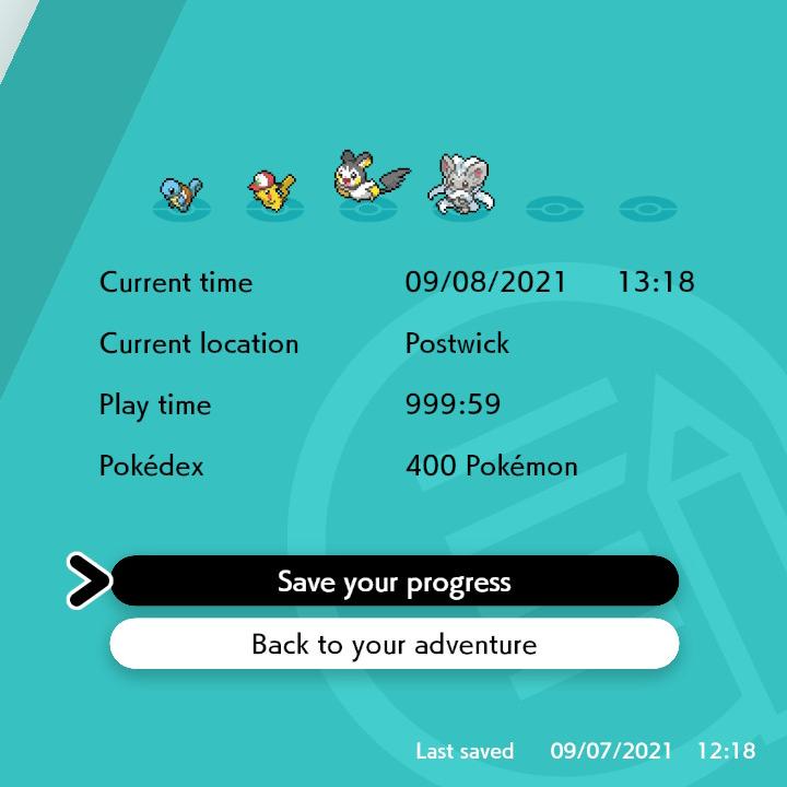 pokemon sword save screen 999 hours 59 minutes